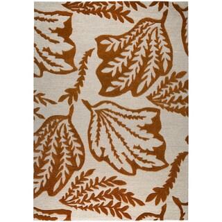 Hand-tufted Leaf Rust New Zealand Wool Rug (8' x 10')
