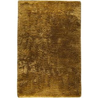 Hand-woven Suns Deep Gold New Zealand Wool Rug (8' x 10')