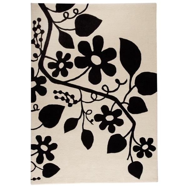 Hand-tufted Merc White/ Black New Zealand Wool Rug (5'6 x 7'10)