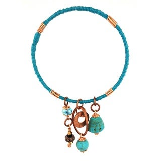 Bleek2Sheek 'Bohemian Rhapsody' Handmade Turquoise/ Copper Charm Bangle Bracelet