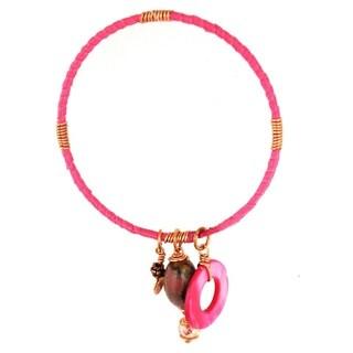 Bleek2Sheek 'Bohemian Rhapsody' Handmade Pink Ribbon/ Copper Wire Bangle Bracelet