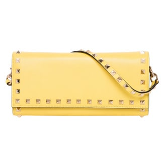 Valentino Rockstud Yellow Leather Wallet with Strap