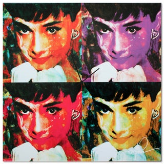 Metal Art Studio 'Audrey Hepburn Clock' Colorful Pop Art Urban Wall Clock