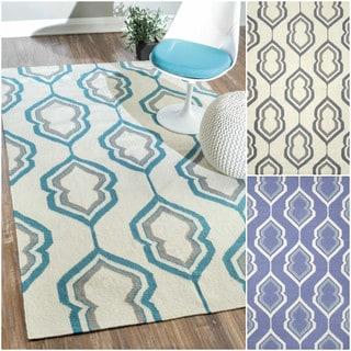 nuLOOM Flatweave Geometric Lattice Wool Rug (7'6 x 9'6)