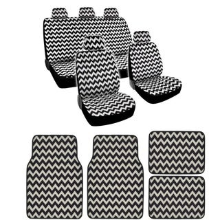 BDK Full Set Chevron Car Seat Covers and Floor Mats