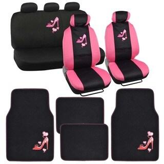 BDK Love Heel Car Seat Covers and Floor Mats Set