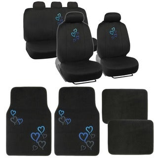 BDK Full Set Heart Love Car Seat Covers and Floor Mats