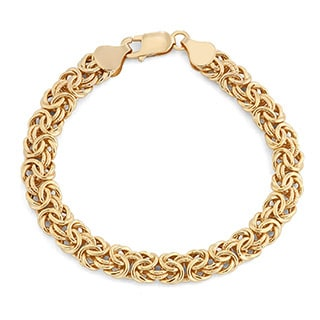 Gioelli 14k Yellow Gold Polished Byzantine Bracelet