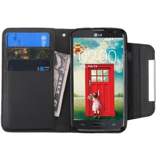 INSTEN Leather Book-Style Flip Wallet Case Cover With Stand For LG Optimus Exceed 2 VS450PP Verizon/ L70 MS323