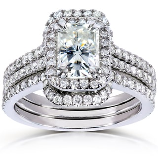 Annello 14k White Gold Radiant-cut Moissanite 5/8ct TDW Round-cut Diamond 3-piece Bridal Set (G-H, I1-I2)