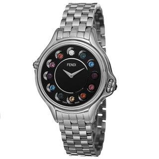 Fendi Women's F107031000T02 'CrazyCarats' Black Dial Stainless Steel Bracelet Quartz Watch