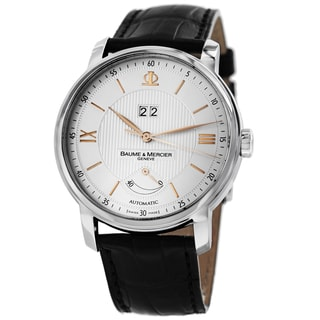 Baume & Mercier Men's MOA10142 'Classima' Silver Dial Black Leather Strap Power Reserve Watch