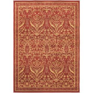 Oriental Garden Dark Red Open Field Rug (5'5 x 7'9)