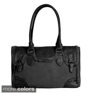 David Jones Women's Vegan Leather Double HandleTote Handbag