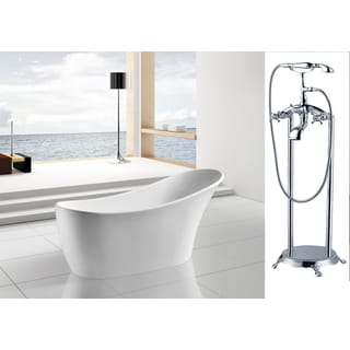 AKDY 63-inch OSF278+8713-AK Europe Style White Acrylic Free Standing Bathtub with Faucet