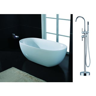 AKDY 67-inch OSF277+8723-AK Europe Style White Acrylic Free Standing Bathtub with Faucet