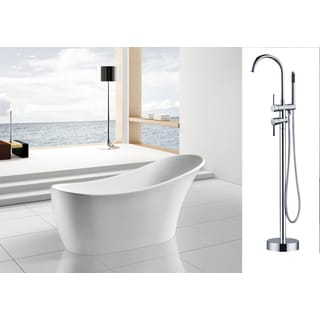 AKDY 63-inch OSEF278+8723-AK Europe Style White Acrylic Free Standing Bathtub with Faucet