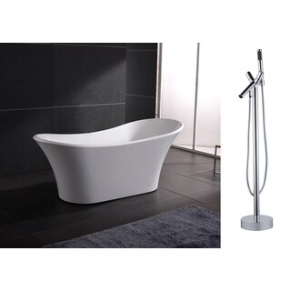 AKDY 71-inch OSF274+8711-AK Europe Style White Acrylic Free Standing Bathtub with Faucet