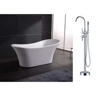 AKDY 71-inch OSF274+8723-AK Europe Style White Acrylic Free Standing Bathtub with Faucet