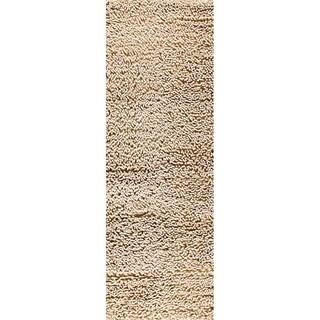 Hand-woven Squa White New Zealand Wool Rug (2'8 x 7'10)