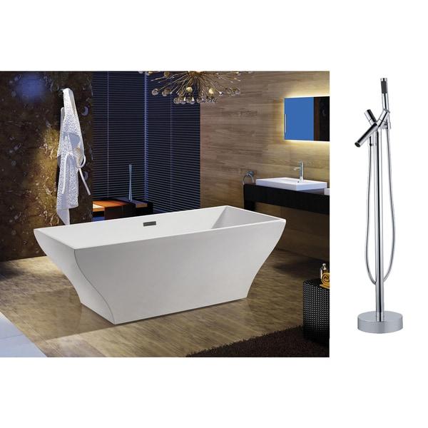 AKDY 67-inch OSF296-A+8711-AK European Style White Acrylic Free Standing Bathtub w/ Faucet