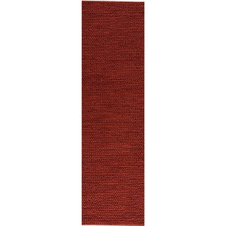 Hand-woven Ladh Red New Zealand Wool Rug (2'8 x 7'10)