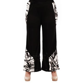 Firmiana Women's Plus Size Black Long Palazzo Pants