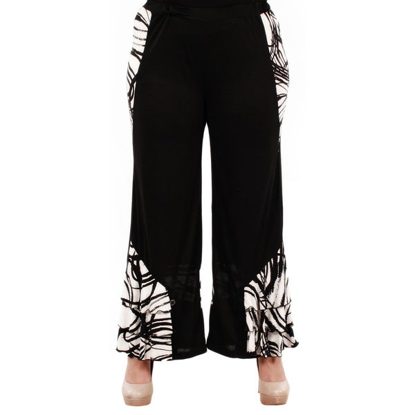 Firmiana Women's Plus Size Black Long Palazzo Pants