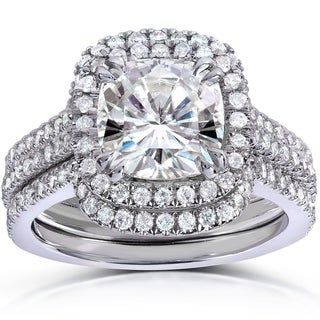 Annello 14k White Gold Cushion-cut Moissanite and 5/8ct TDW Round-cut Diamond 3-piece Bridal Set (G-H, I1-I2)