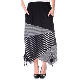 Woman's Black/ White Polka-dot and Stripe Long Maxi Skirt