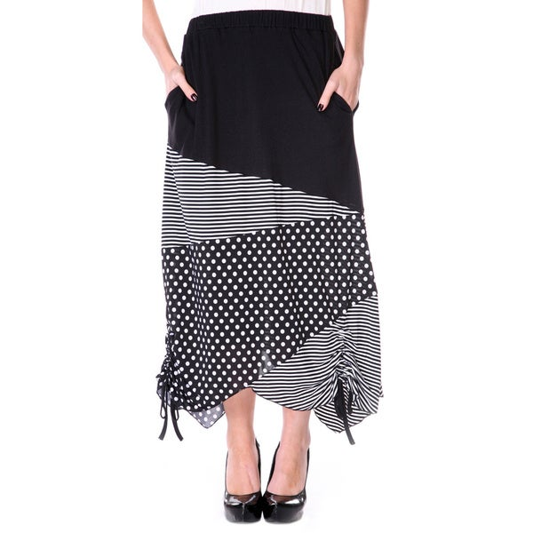 Firmiana Women's Black/ White Polka-dot and Stripe Long Maxi Skirt