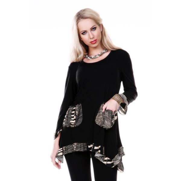 Firmiana Women's Black Animal Print Long Sleeve Top