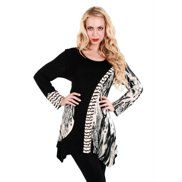 Firmiana Women's Black/ White Abstract Print Long Sleeve Top