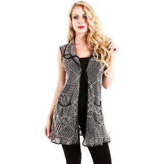 Woman's Grey Open-knit Sleeveless Top