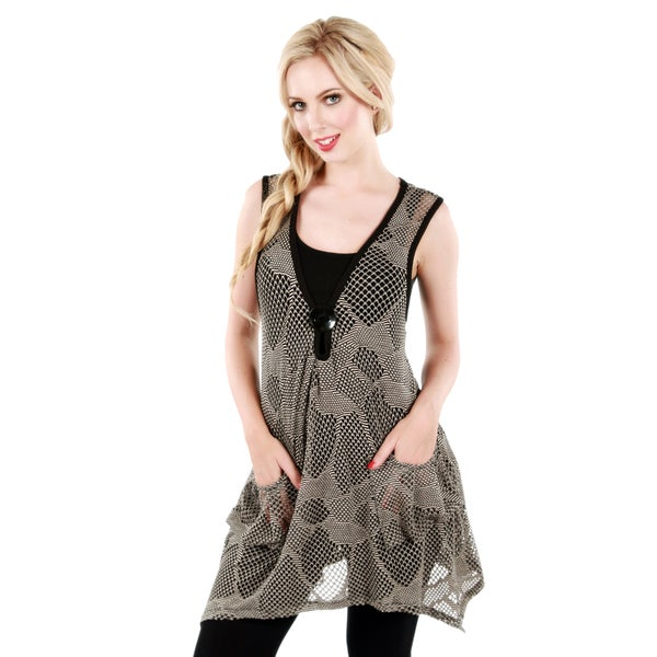 Firmiana Women's Beige Open-knit Lace Sleeveless Top