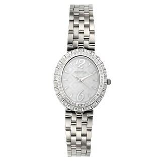 Croton Women's CN207507SSMP Stainless Steel Silvertone Diamond Bezel Watch