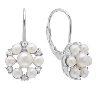 Sterling Essentials Silver Cultured Pearl and Cubic Zirconia Leverback Earrings