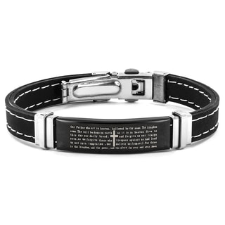 Stainless Steel Lord's Prayer ID Plate Bracelet