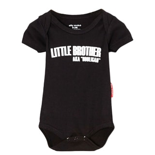 Boys' 'Lil Brother Hooligan' Black Bottom Snap Bodysuit