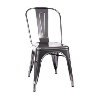Amalfi Stackable Dark Gunmetal Steel Side Chair (Set of 4)