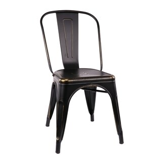 Amalfi Stackable Vintage Matte Black/ Gold Steel Side Chair (Set of 4)