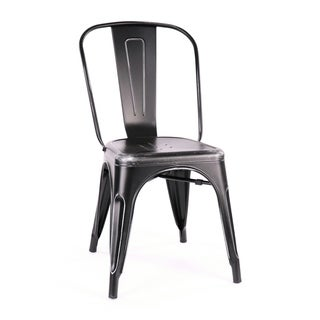 Amalfi Stackable Matte Black/ Silver Steel Side Chair (Set of 4)