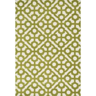 Aaron Green Trellis Microfiber Woven Rug (3'6 x 5'6)