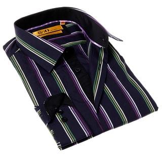 Brio Milano Men's Blue and Purple Stripe Button-up Dress Shirt