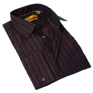 Brio Milano Men's Brown and Black Stripe Button-up Dress Shirt