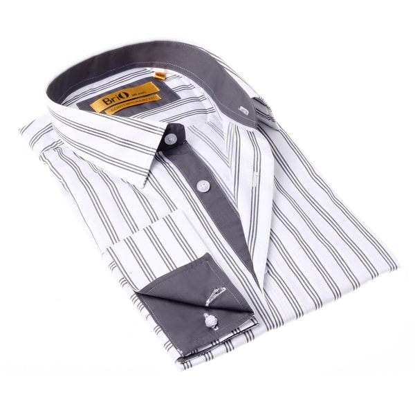Brio Milano Men's White and Grey Stripe Button-up Dress Shirt