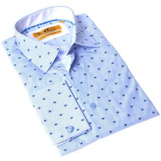 Brio Milano Men's Button-up Blue and White Stripe Dress Shirt