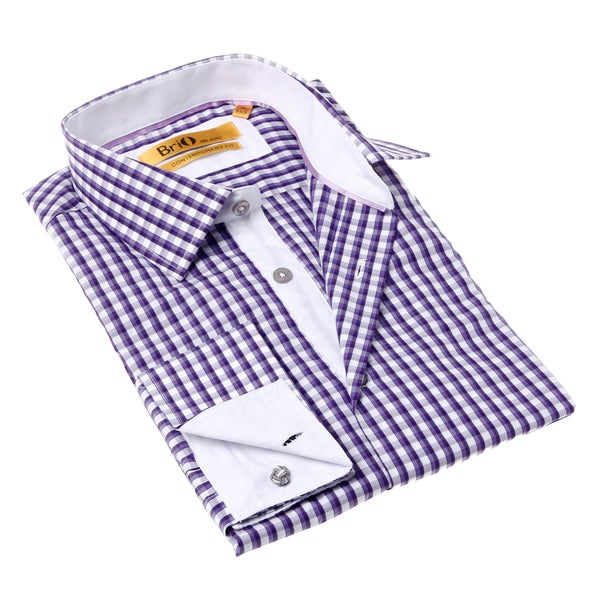 Brio Milano Men's Purple and White Check Button-up Dress Shirt