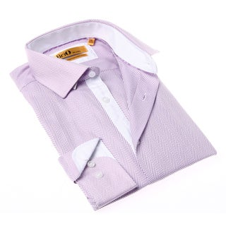 Brio Milano Men's Pink and White Herringbone Button-up Dress Shirt