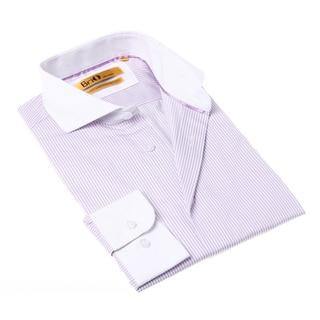 Brio Milano Men's Purple and White Stripe Button-up Dress Shirt